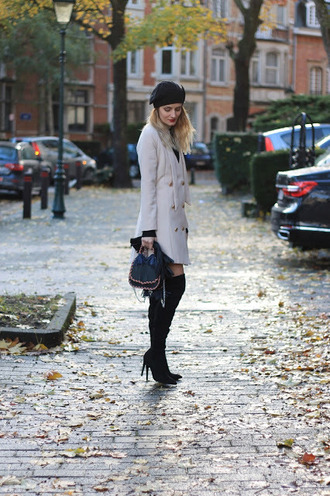 from brussels with love blogger coat dress bag shoes sweater fall outfits beret boots double breasted over the knee boots