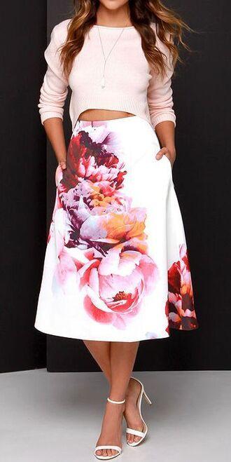 skirt pink blouse white floral skirt white sandals