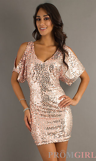 Short Sequin Dress with Sleeves, Homecoming Dresses- PromGirl