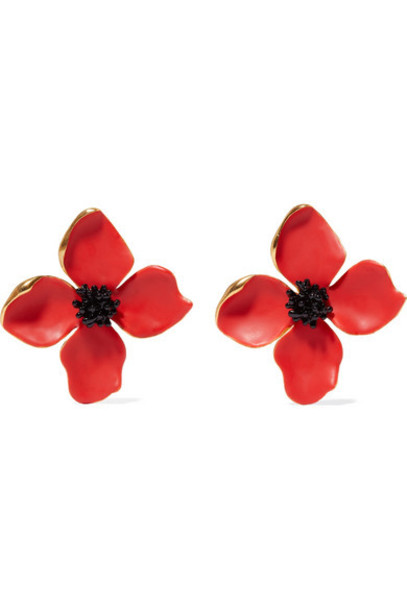 Oscar de la Renta - Painted Flower Button Gold-tone And Resin Clip Earrings - Red