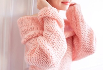 sweater pink sweater heavy knit jumper