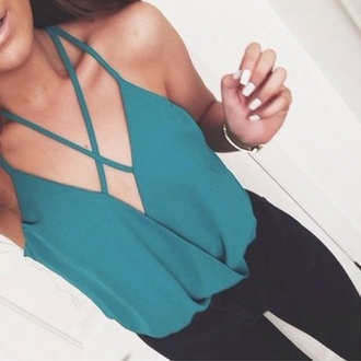 top green singlet green green shirt singlet v neck dressy tops layers criss cross strap