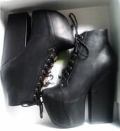 shoes,black heels,heels,black shoes,booties,high heels,tumblr,black,laced booties,leather,thick heel