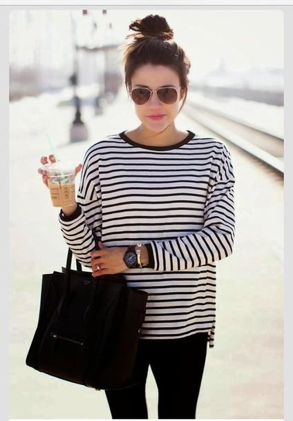 stripes blouse bag shirt black and white stripes top