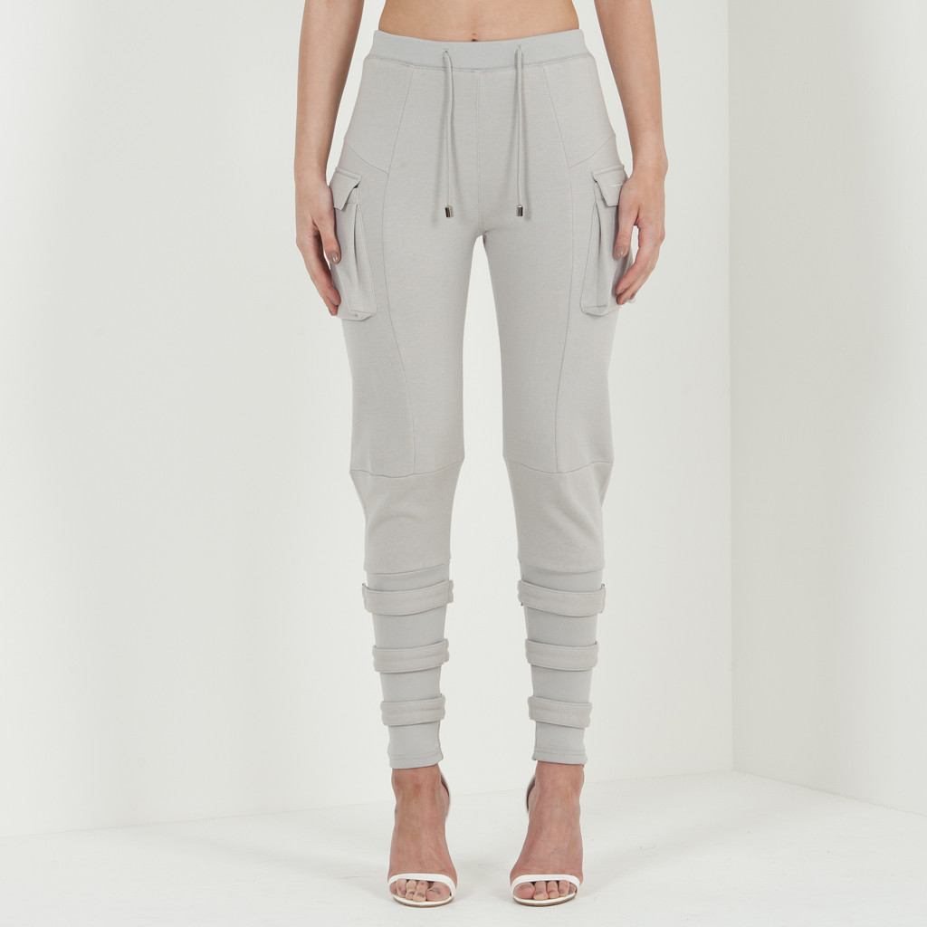 Buckle Detail Track Pant - Light Grey