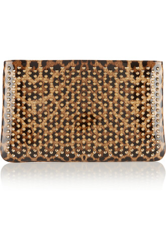 leather clutch clutch leather print leopard print bag