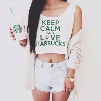 tank top jazrox summer starbucks coffee starbuckstop tanktop keep calm fashion white crop tops hipster girly tumblr shirt frappe cool