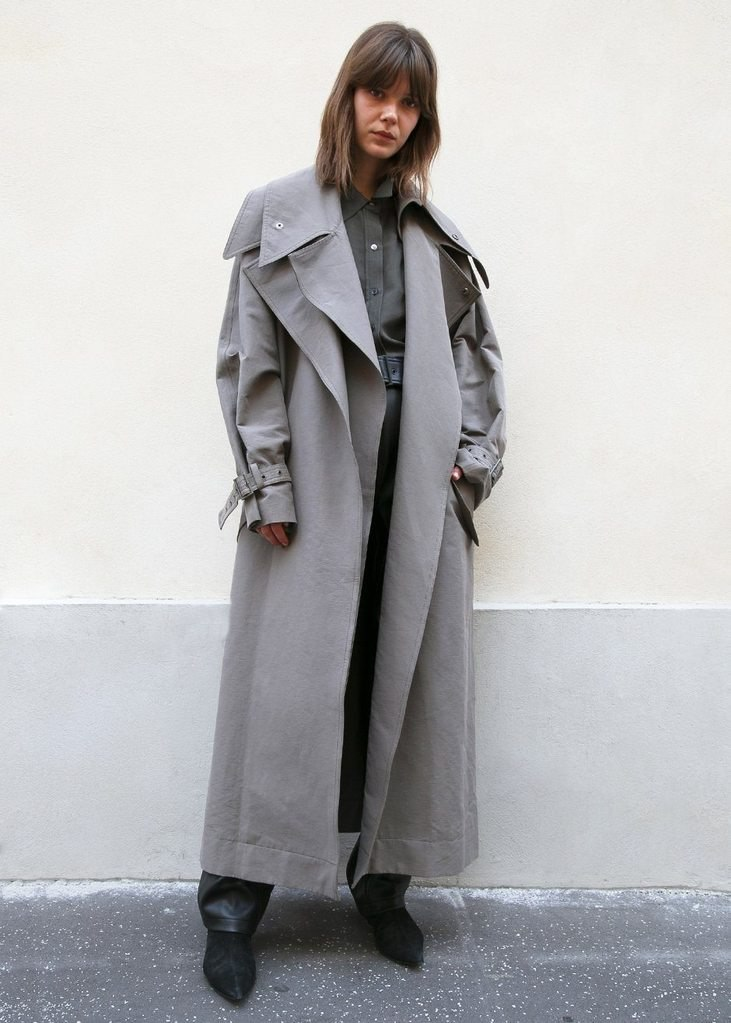 Khaki Layered Trenchcoat by Low Classic