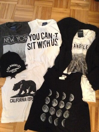 t-shirt moon black brandy melville california you can't sit with us los angeles beanie white black and white hat shirt dress tank top