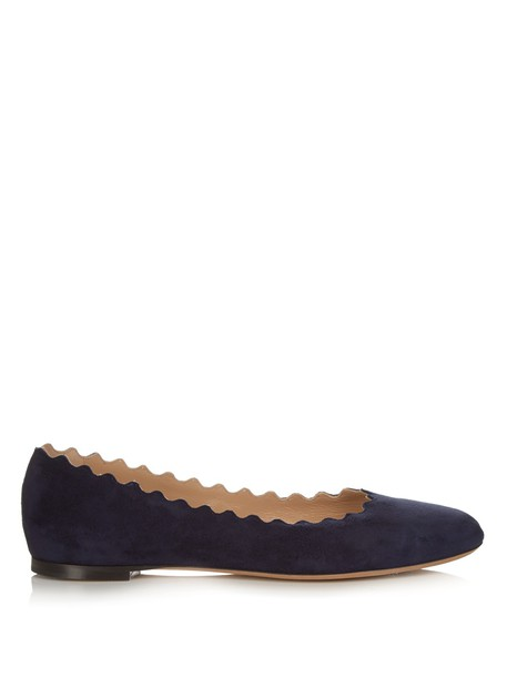 Chloe flats suede navy shoes