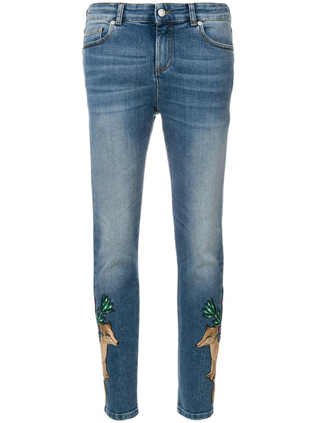 Alexander Mcqueen jeans skinny jeans women spandex animal cotton blue silk