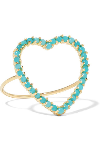 heart open ring gold turquoise jewels