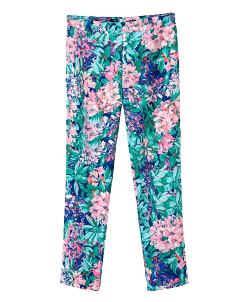 Mid-rise Floral-print Skinny Long Pants | BlackFive