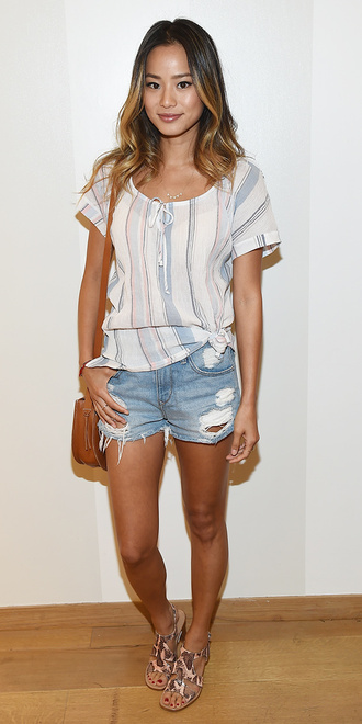 top sandals shoes denim shorts shorts jamie chung snake skin shoes