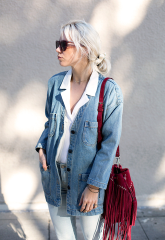 always judging blogger denim jacket fringed bag