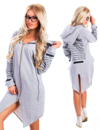 cardigan hoodie women a-line zefinka fall outfits winter outfits grey urban girly pretty cool instagram tumblr tunic dress blue white girly wishlist