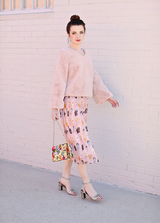 sea of shoes blogger all pink everything fur sweater fur pink sweater midi skirt printed skirt silver shoes sandals cute outfits
