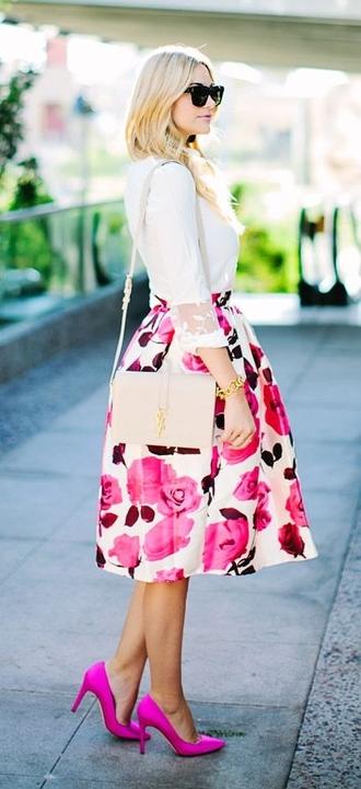 skirt pink midi skirt floral midi skirt floral skirt white