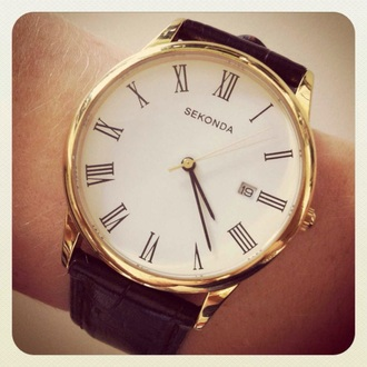 hair accessory watch golden leather roman numerals classic