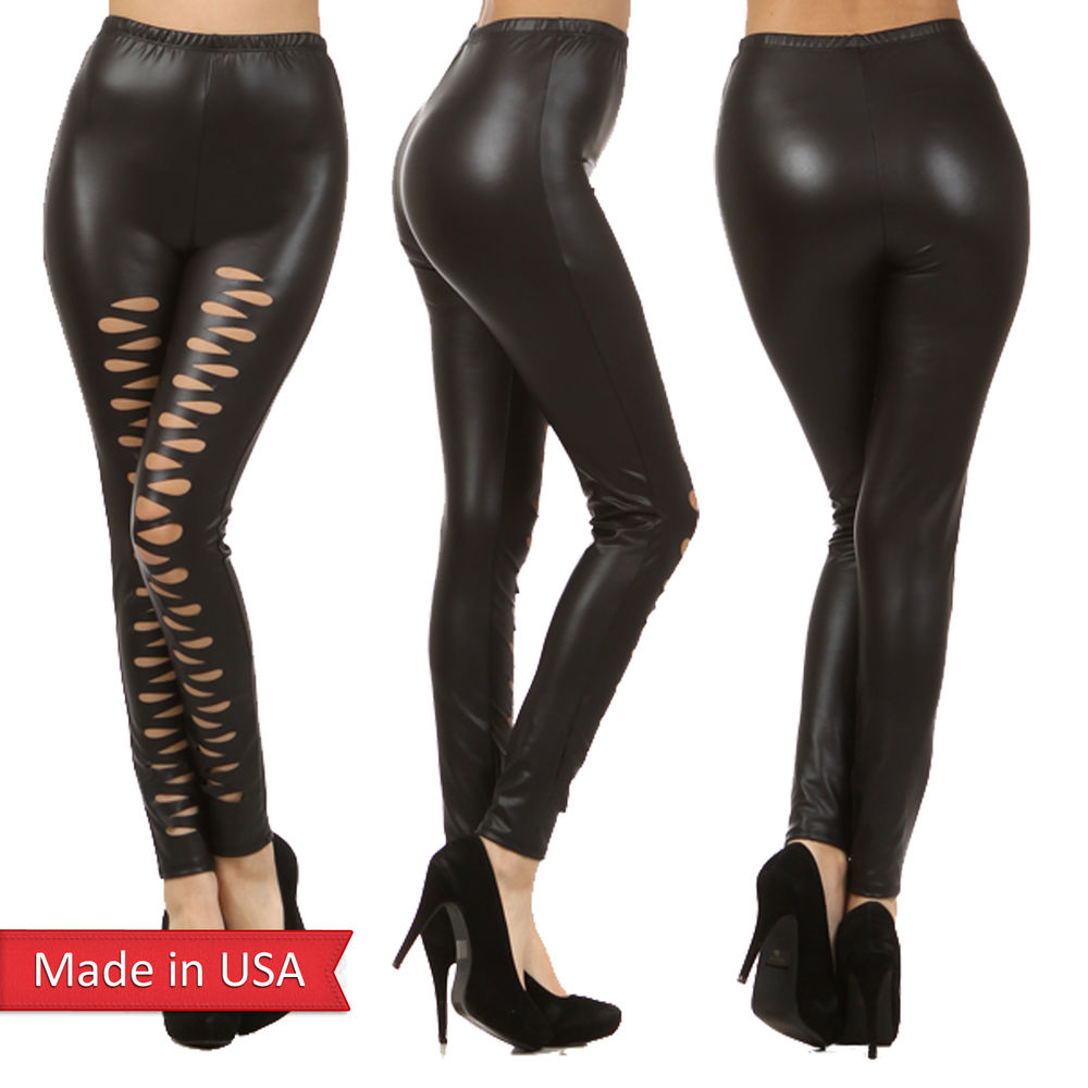 New women faux leather black sexy cut out slashed detail goth leggings pants usa