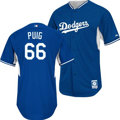 Los Angeles Dodgers Majestic MLB Yasiel Puig #66 Cool-Base Batting Practice Jersey (Royal Blue) at Fanzz.com