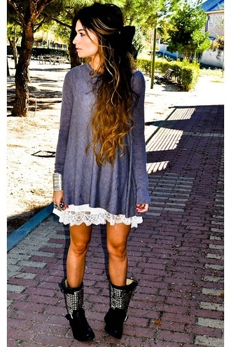 dress grey dress long sleeve dress sweater laid back loose dress top lace white boho outfit lace chic