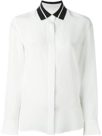 shirt collar shirt women spandex white silk top