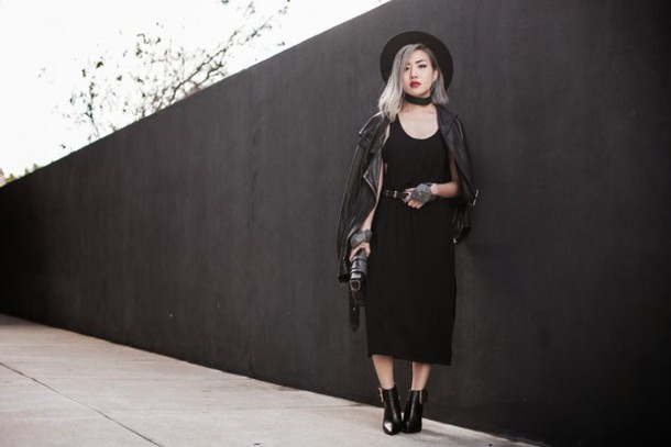feral creature blogger black dress leather jacket