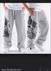grey sweatpants,graffiti,baggy pants,cotton