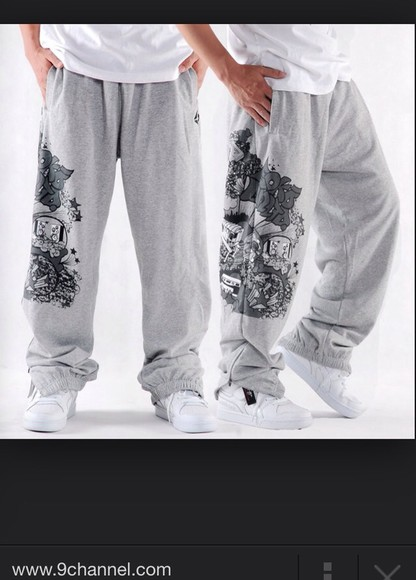 baggy pants grey sweatpants graffiti cotton