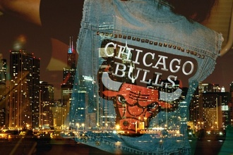 jeans jean vest chicago bulls denim red black swag
