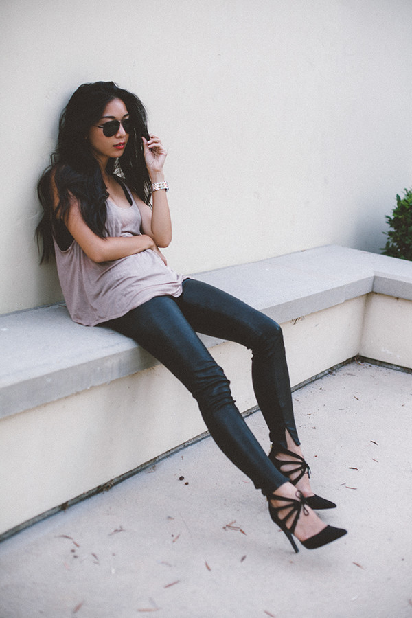 honey and silk blogger underwear sunglasses jewels shoes leather pants high heels tank top slit pants black leather pants black heels black sunglasses