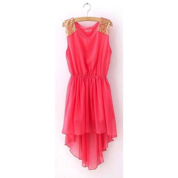 high-low dresses cute pink gold
