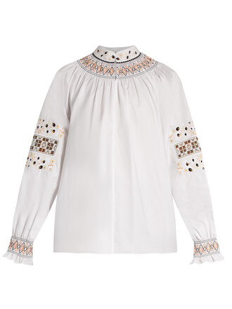 top embroidered cotton white
