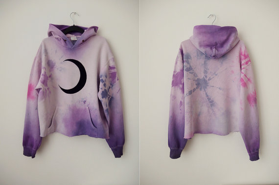 dazed galactic witch }} pastel pink, lilac & purple tie/dip dye HOODIE/SWEATER with black crescent moon print.