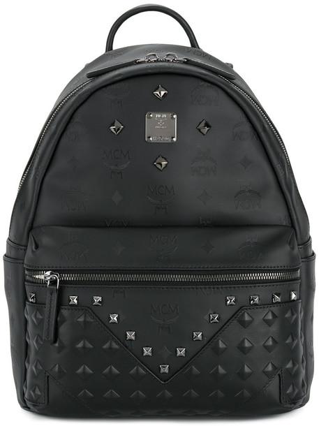 MCM studded women backpack studded backpack leather black bag