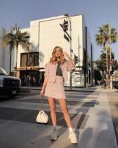 jacket,blazer,pink blazer,2 piece skirt set,mini skirt,high waisted skirt,sneakers,backpack,blouse