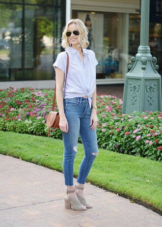 straight a style blogger jeans shirt shoes bag shoulder bag brown bag blue shirt skinny jeans