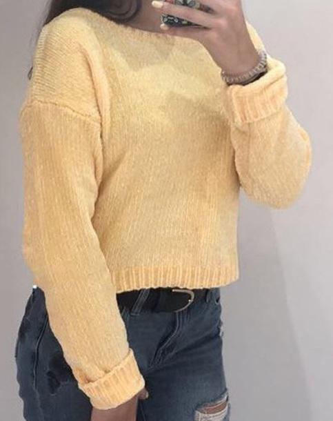 sweater yellow knit women