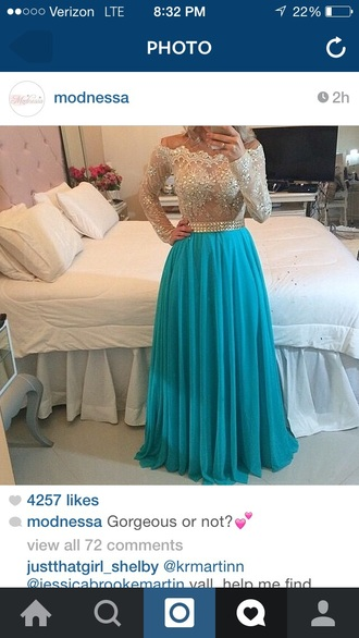 blue dress modnessa lace dress teal dress gorgeous dress gown sparkles belted dress pleated skirt floorlength gown long sleeve dress see through lace dress nude lace dress detailed beaded dress