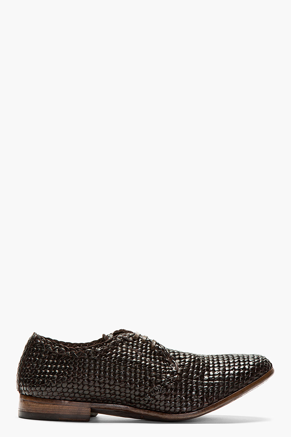 Dolce and gabbana brown woven leather derbys