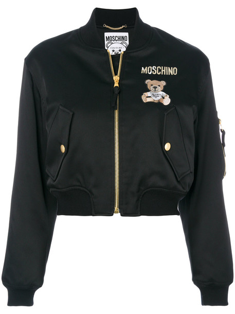 Moschino jacket bomber jacket cropped bear women spandex cotton black wool