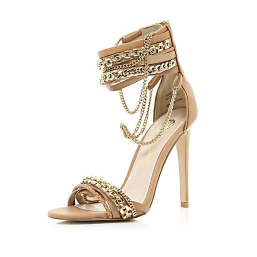 Brown multi chain strap sandals
