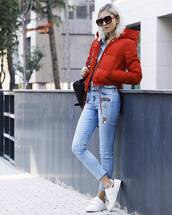 jacket,tumblr,red jacket,puffer jacket,denim,jeans,light blue jeans,patch,patched denim,sneakers,low top sneakers,white sneakers,shirt,blue shirt,denim shirt,sunglasses,bag,black bag