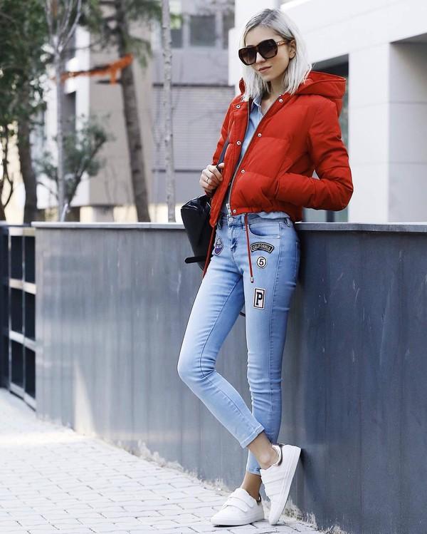 jacket tumblr red jacket puffer jacket denim jeans light blue jeans patch patched denim sneakers low top sneakers white sneakers shirt blue shirt denim shirt sunglasses bag black bag