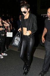 pants,leather,kendall jenner,all black everything,sunglasses,jacket,shoes