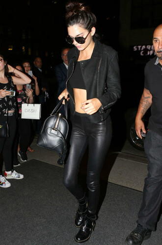 pants leather kendall jenner all black everything sunglasses jacket shoes