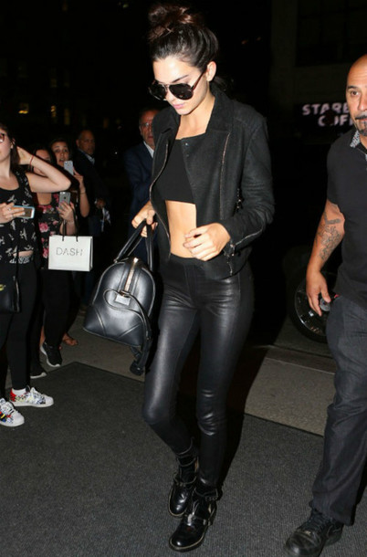 b4550c27ff03 pants leather kendall jenner all black everything sunglasses jacket shoes