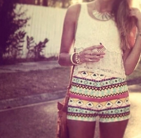 shorts shirt High waisted shorts aztec short summer outfits aztec colorful shorts style stylish and pretty