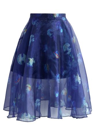 skirt jellyfish frills organza skirt chicwish organze skirt summer skirt floral skirt party skirt